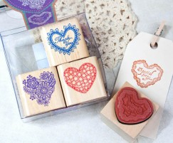 Quartet Stamp Set/Heart Lace Pattern