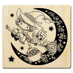 Halloween cute sorceress stamp/Moon