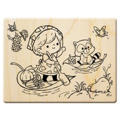 Happy harvest in the fall stamp/Rowing boat/Suirrel