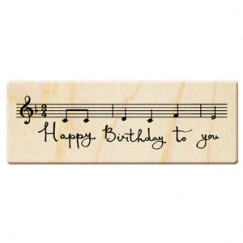 Birthday blessing words stamp/musical note/music staff