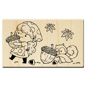 Happy harvest in the fall stamp/Pine cone girl/Squirrel