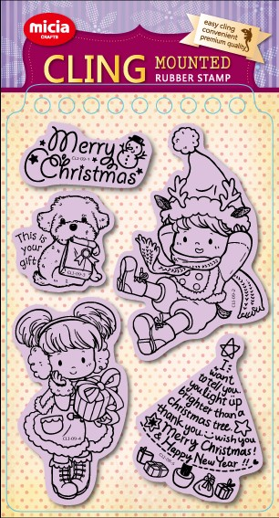 Cling stamp set-Christmas girl