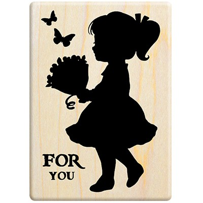 Silhouette girl holding bouquet