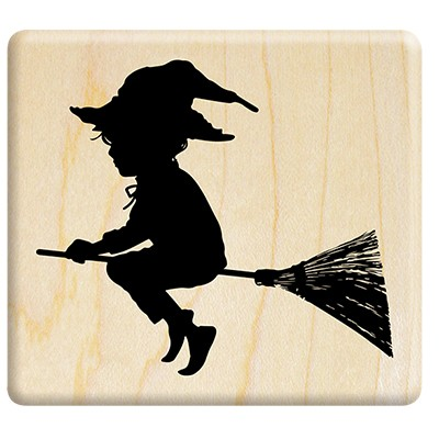 Silhouette little wizard riding a broom