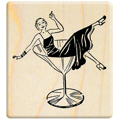 100 Proof Press-American vintage sketch stamp-Woman in a wine glass