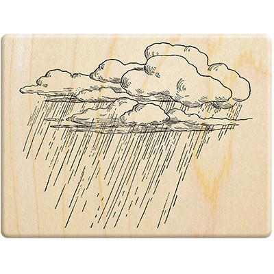 100 Proof Press-American vintage sketch stamp-Rainy clouds rain