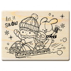 Happy Christmas stamp/Boy/Penguin/Sled