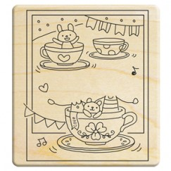 Happy family 6 Stamp/Coffee cup/amusement park