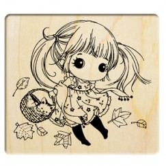 Warm season stamp/Girl/Cat/maple leaves