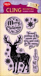 Cling stamp set--Christmas Day Christmas Elk Snowflakes