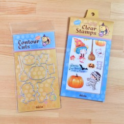 clear stamps & Dies set -Halloween pumpkin girl with kitten